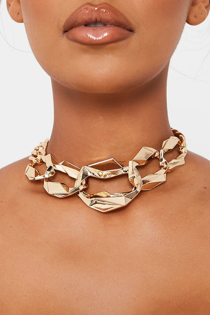 Gold Multi Chunky Chain Choker view 2