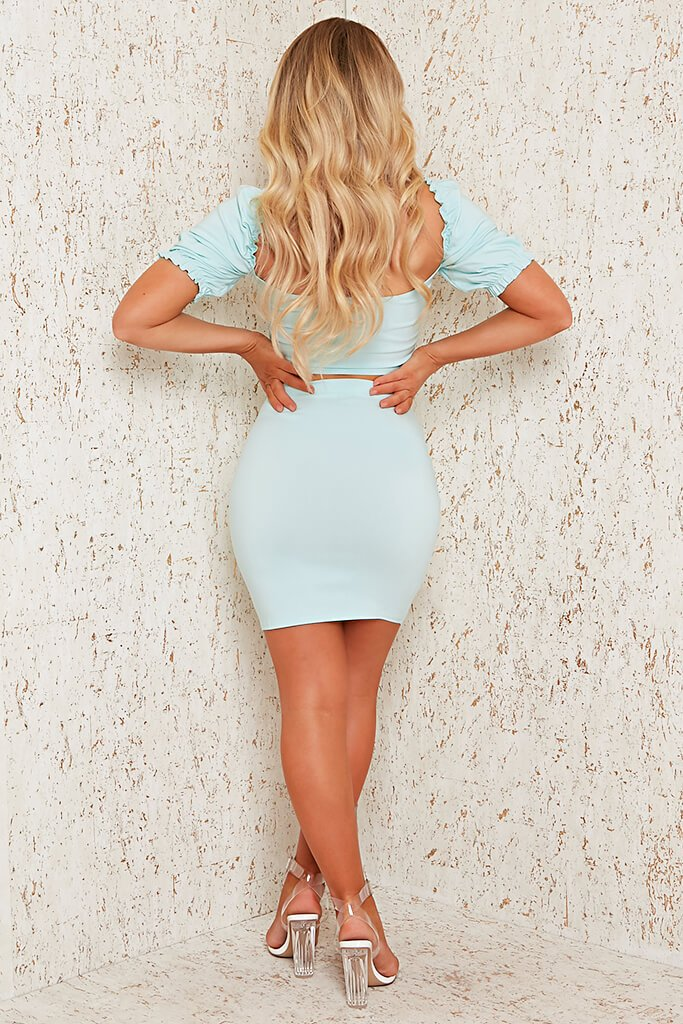 Mint Green Bengaline Mini Skirt view 5