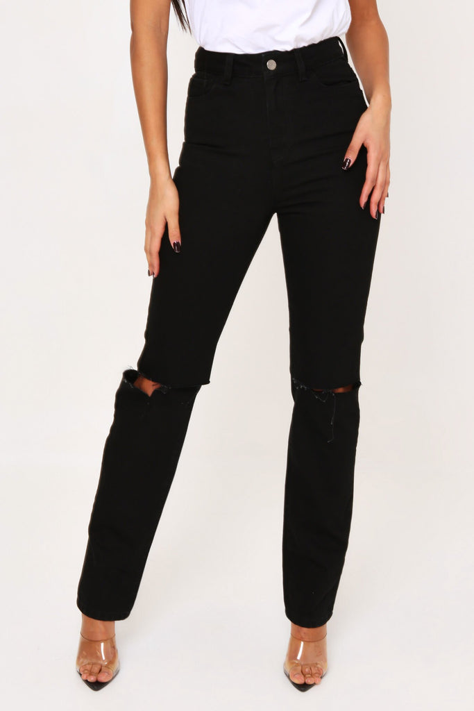 Black Slash Knee Straight Leg Denim Jean view 2