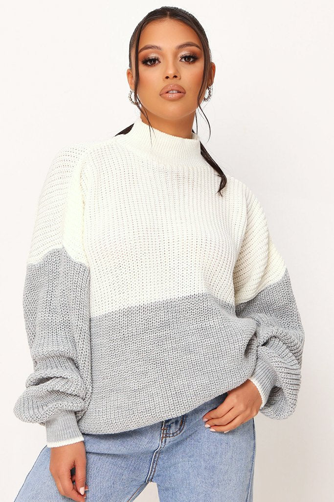 Grey Colour Block Turtle Neck Jumper view main view