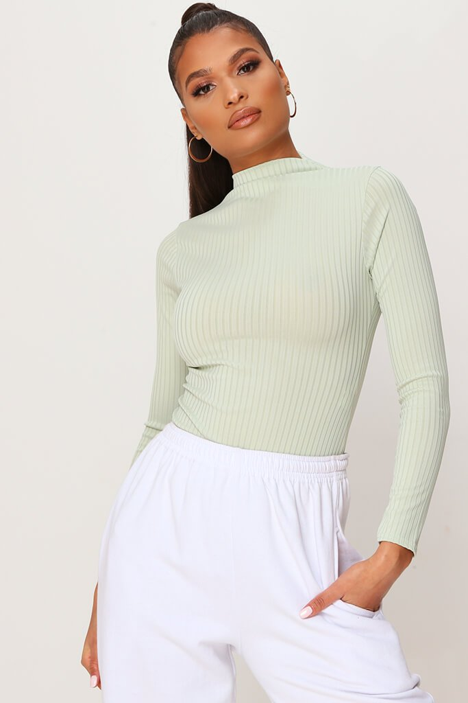 Sage Jumbo Rib Funnel Neck Long Sleeve Bodysuit