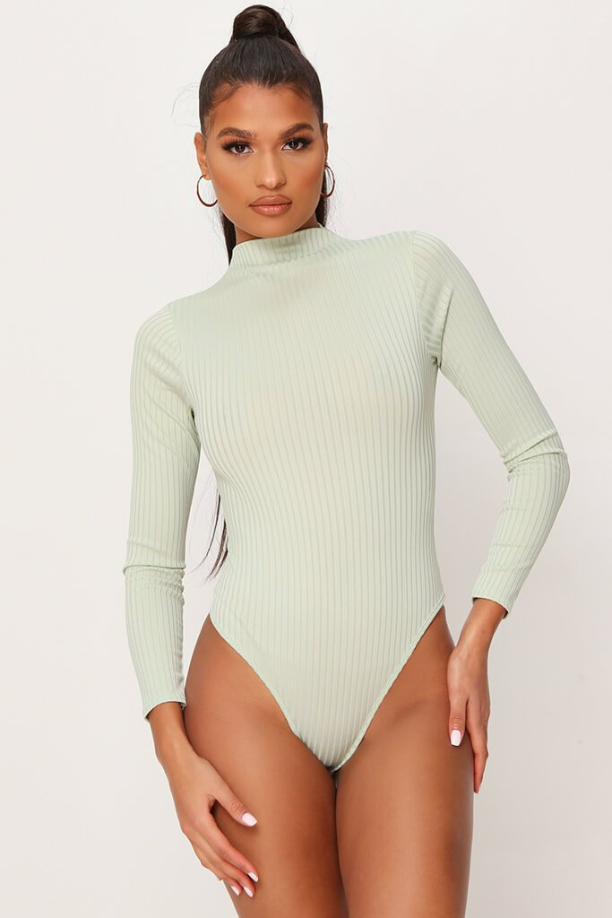 Sage Jumbo Rib Funnel Neck Long Sleeve Bodysuit view 2
