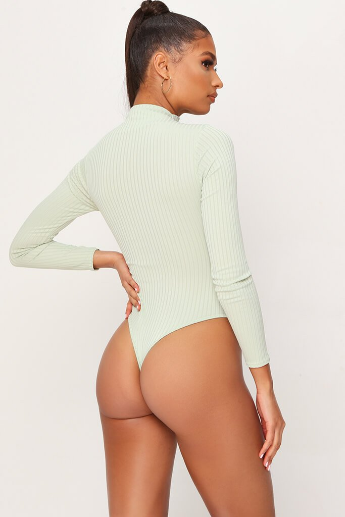 Sage Jumbo Rib Funnel Neck Long Sleeve Bodysuit view 5