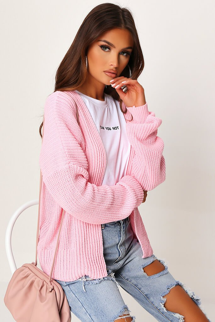 Blush Pink Cropped Slouchy Cardigan