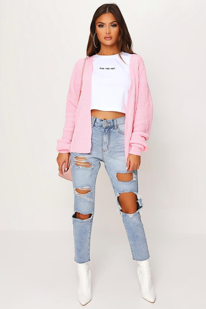 Blush Pink Cropped Slouchy Cardigan view 2
