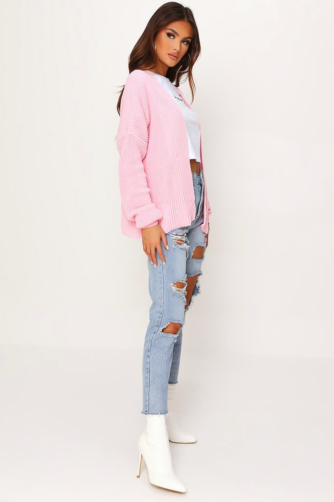 Blush Pink Cropped Slouchy Cardigan view 3