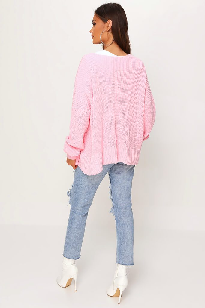 Blush Pink Cropped Slouchy Cardigan view 4