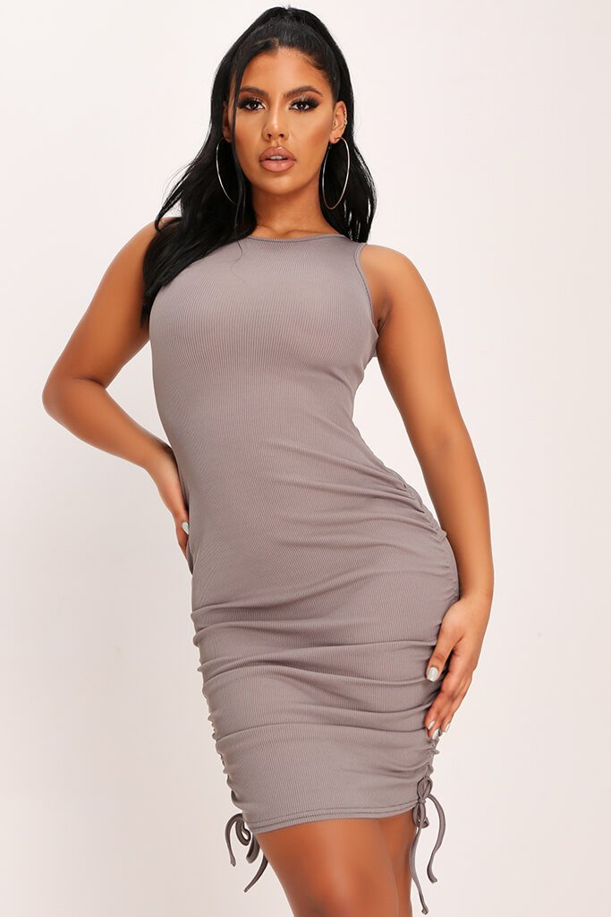 Charcoal Ribbed Ruched Front Cami Bodycon Dress