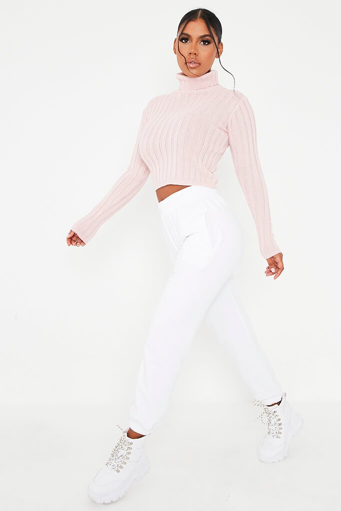 Blush Pink Roll Neck Rib Knit Cropped Jumper view 3