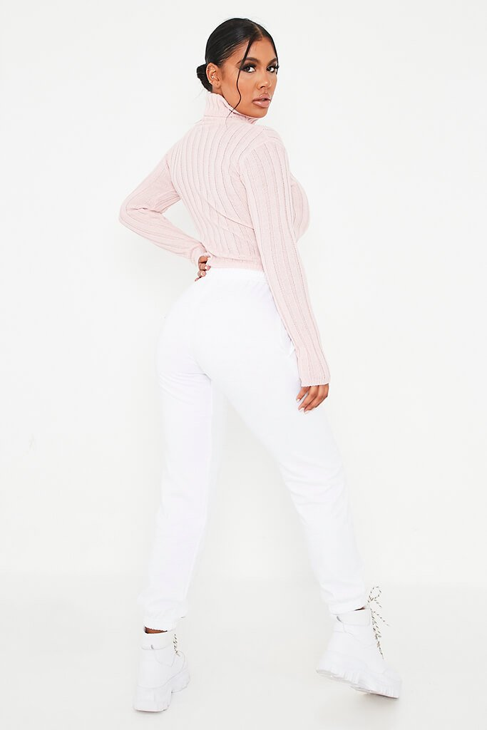 Blush Pink Roll Neck Rib Knit Cropped Jumper view 4