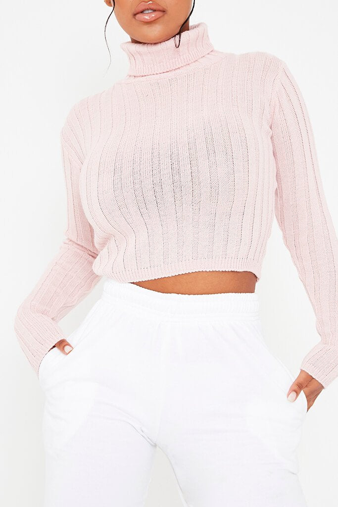 Blush Pink Roll Neck Rib Knit Cropped Jumper view 5