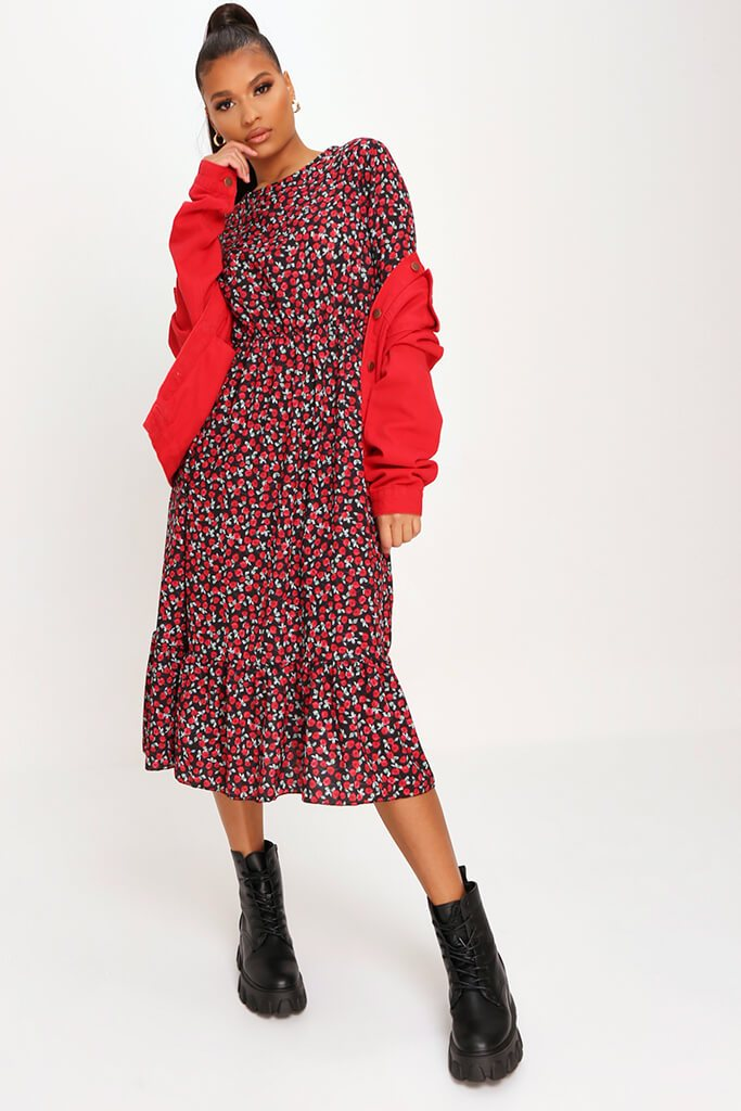 Red Woven Rose Print Frill Hem Smock Midi Dress view main view