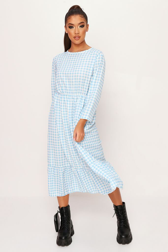 Baby Blue Woven Gingham Frill Hem Smock Midi Dress view main view