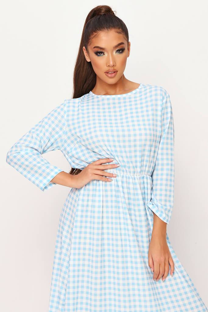 Baby Blue Woven Gingham Frill Hem Smock Midi Dress view 2
