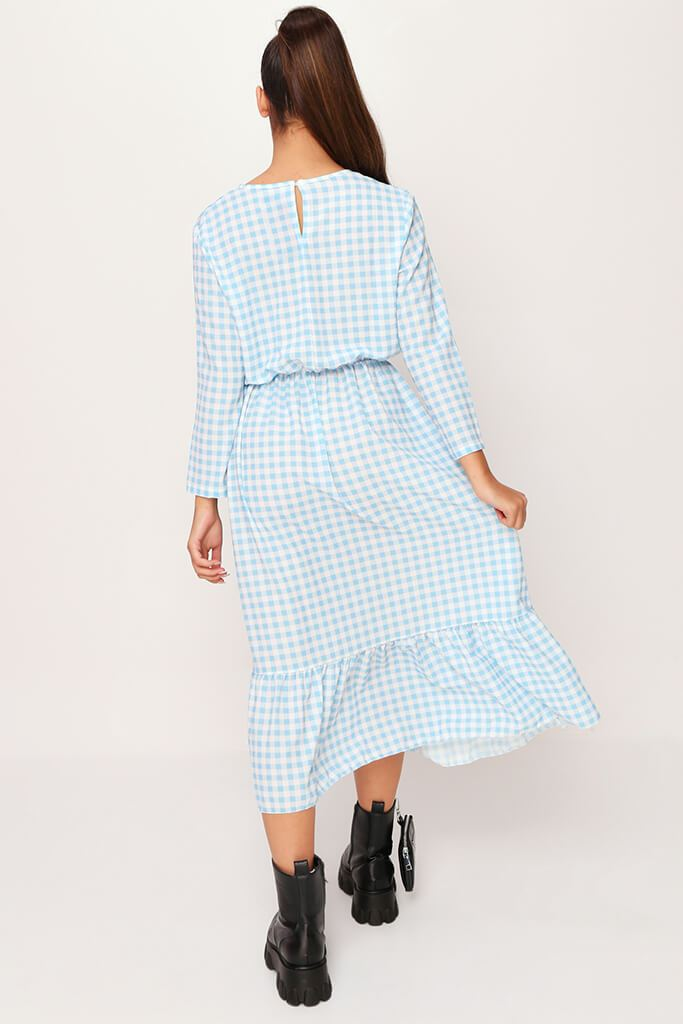 Baby Blue Woven Gingham Frill Hem Smock Midi Dress view 5