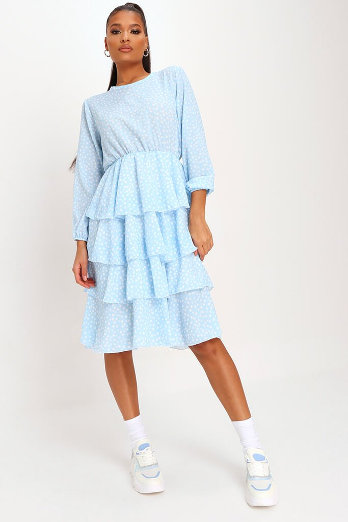 Baby Blue Woven Tiered Polka Dot Midaxi Dress