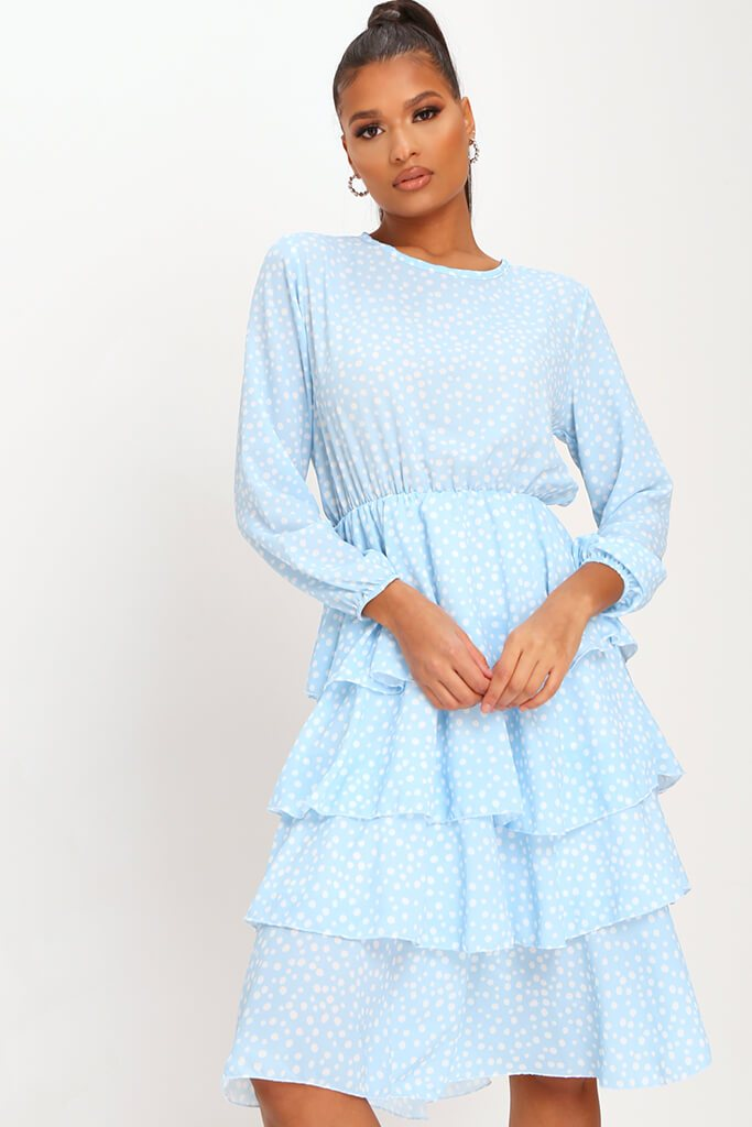 Baby Blue Woven Tiered Polka Dot Midaxi Dress view 2