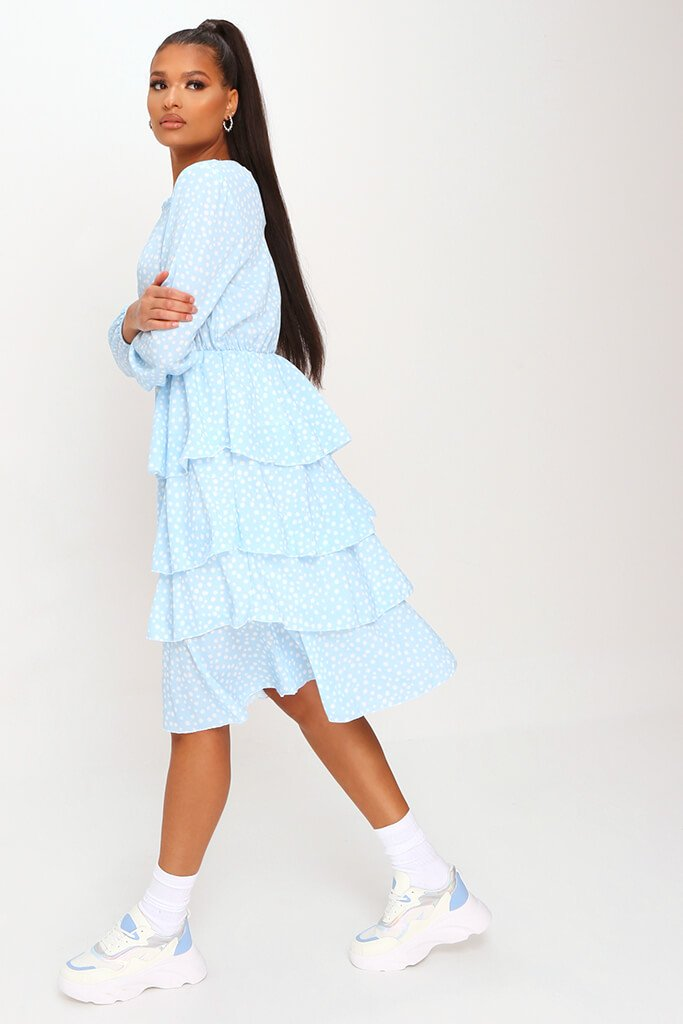 Baby Blue Woven Tiered Polka Dot Midaxi Dress view 3