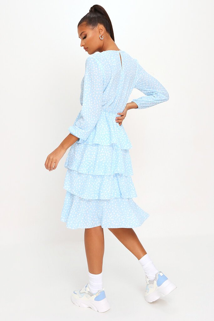 Baby Blue Woven Tiered Polka Dot Midaxi Dress view 5