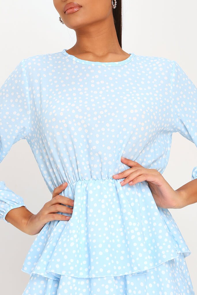 Baby Blue Woven Tiered Polka Dot Midaxi Dress view 4