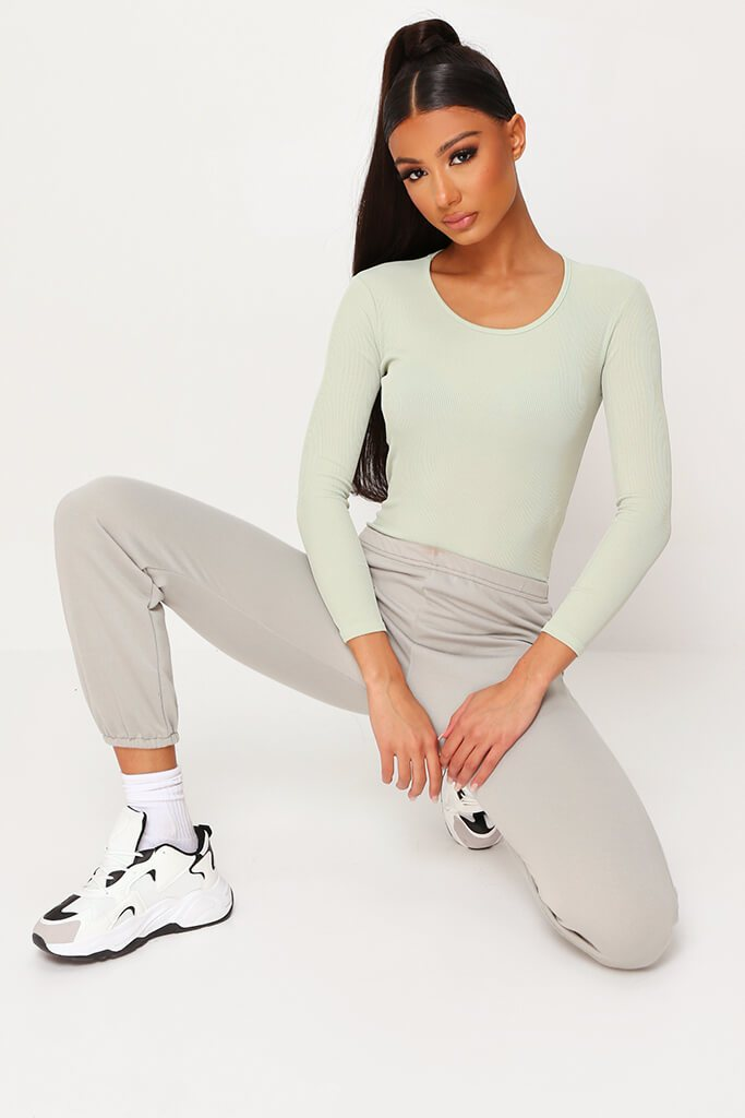 Sage Ribbed Long Sleeve Bodysuit