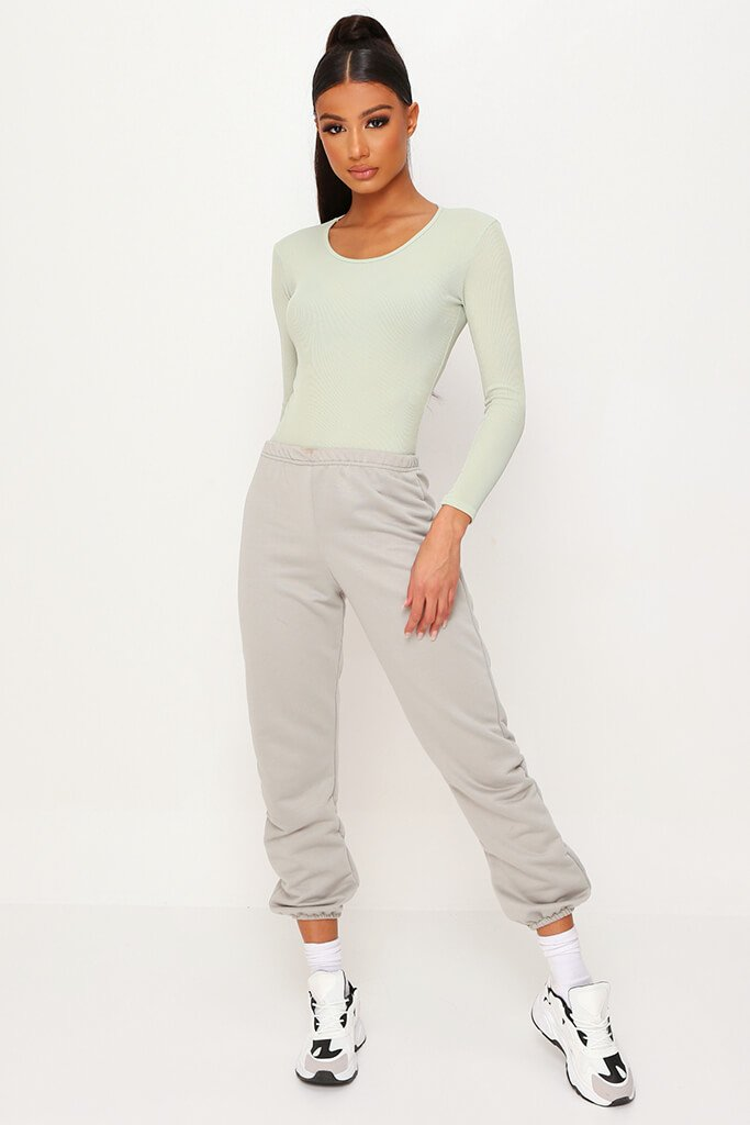 Sage Ribbed Long Sleeve Bodysuit view 2