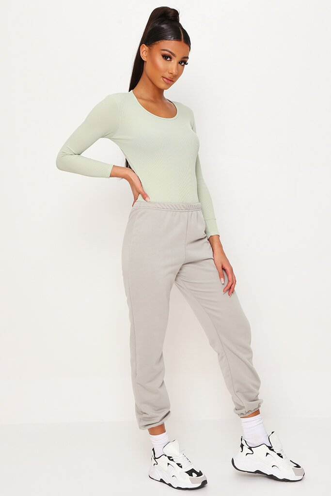 Sage Ribbed Long Sleeve Bodysuit view 3