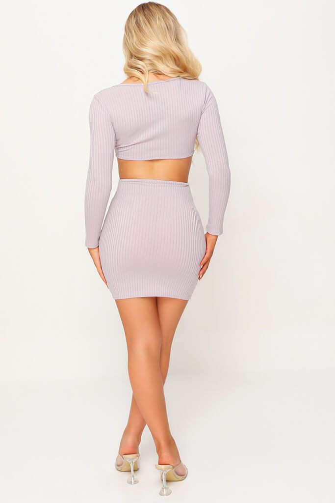 Grey Long Sleeve Cut Out Bodycon Dress view 5