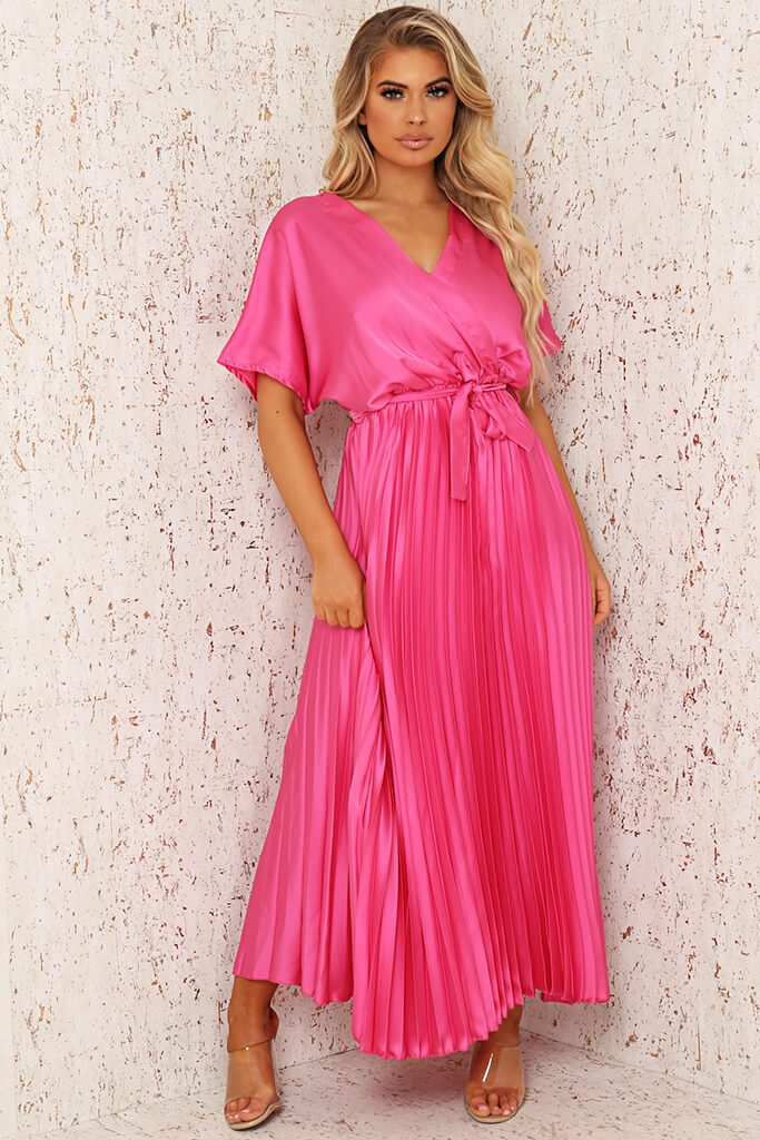 Blush Pink Satin Pleated Wrap Maxi Dress
