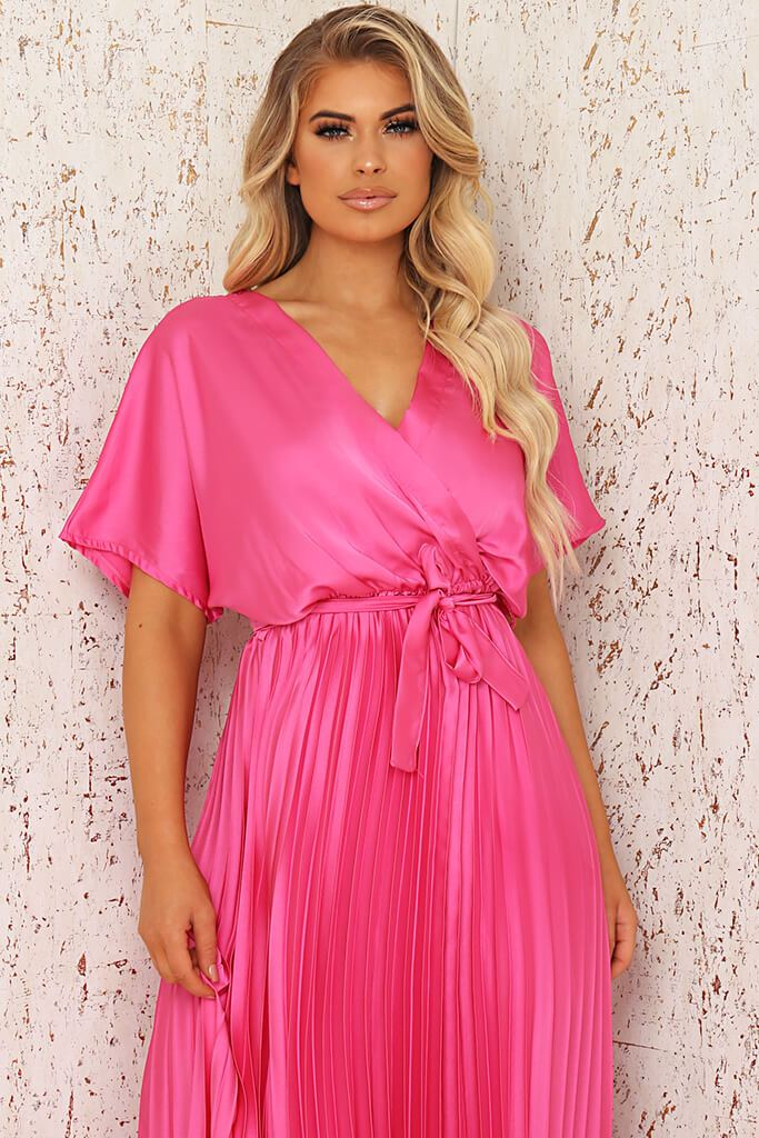 Blush Pink Satin Pleated Wrap Maxi Dress view 2
