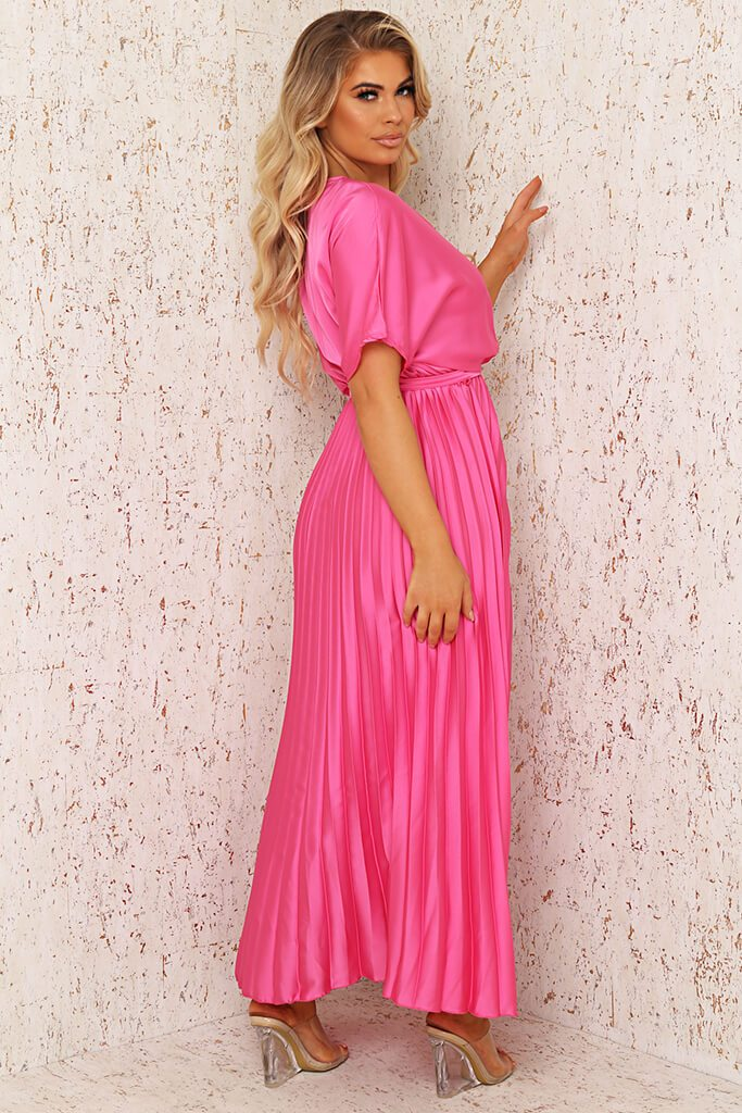 Blush Pink Satin Pleated Wrap Maxi Dress view 3