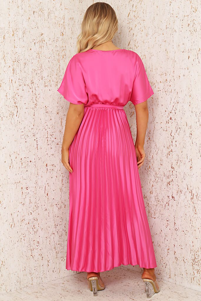 Blush Pink Satin Pleated Wrap Maxi Dress view 5