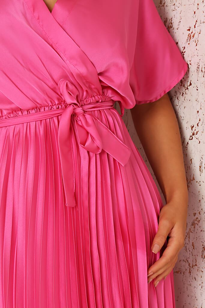 Blush Pink Satin Pleated Wrap Maxi Dress view 4