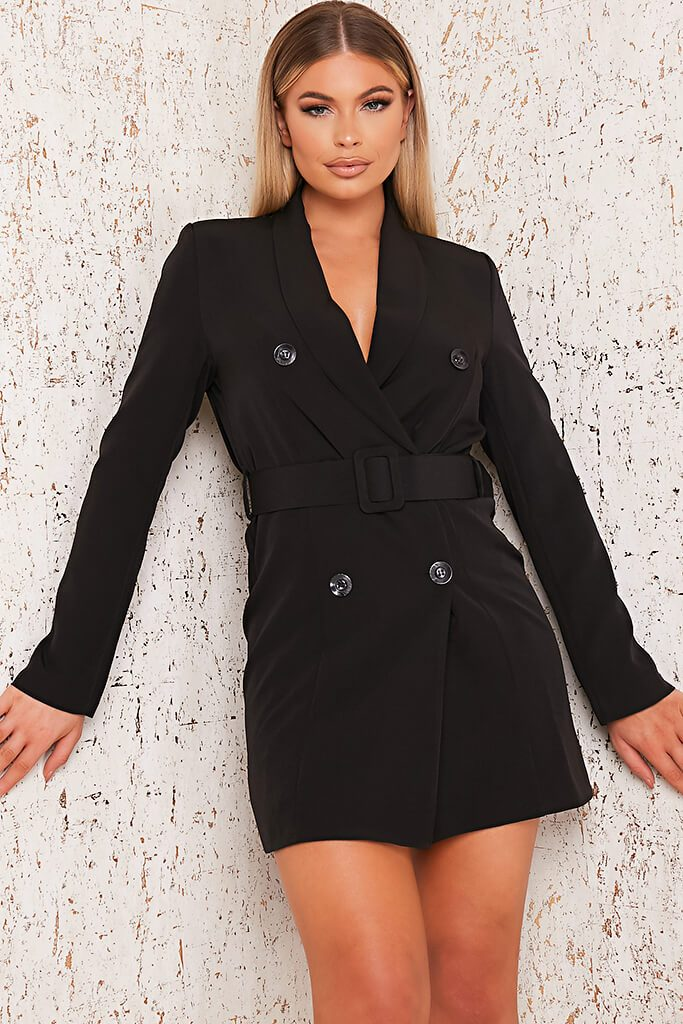 Black Woven Belted Blazer Dress view main view