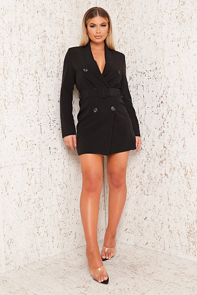 Black Woven Belted Blazer Dress view 2