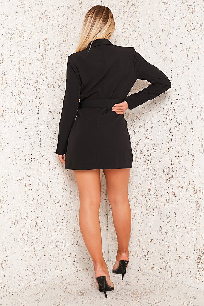Black Woven Belted Blazer Dress view 5