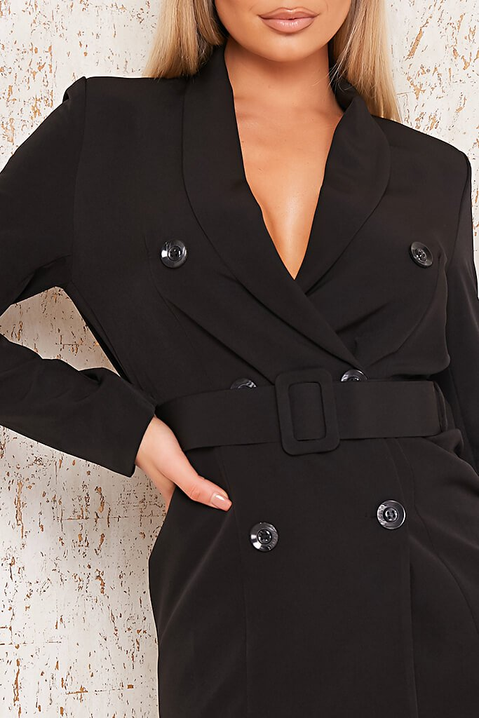 Black Woven Belted Blazer Dress view 4