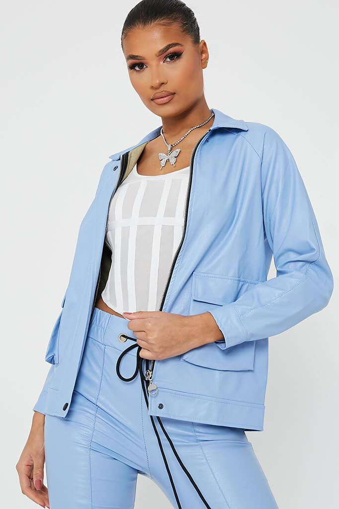 Pastel Blue Faux Leather Utility Jacket view main view