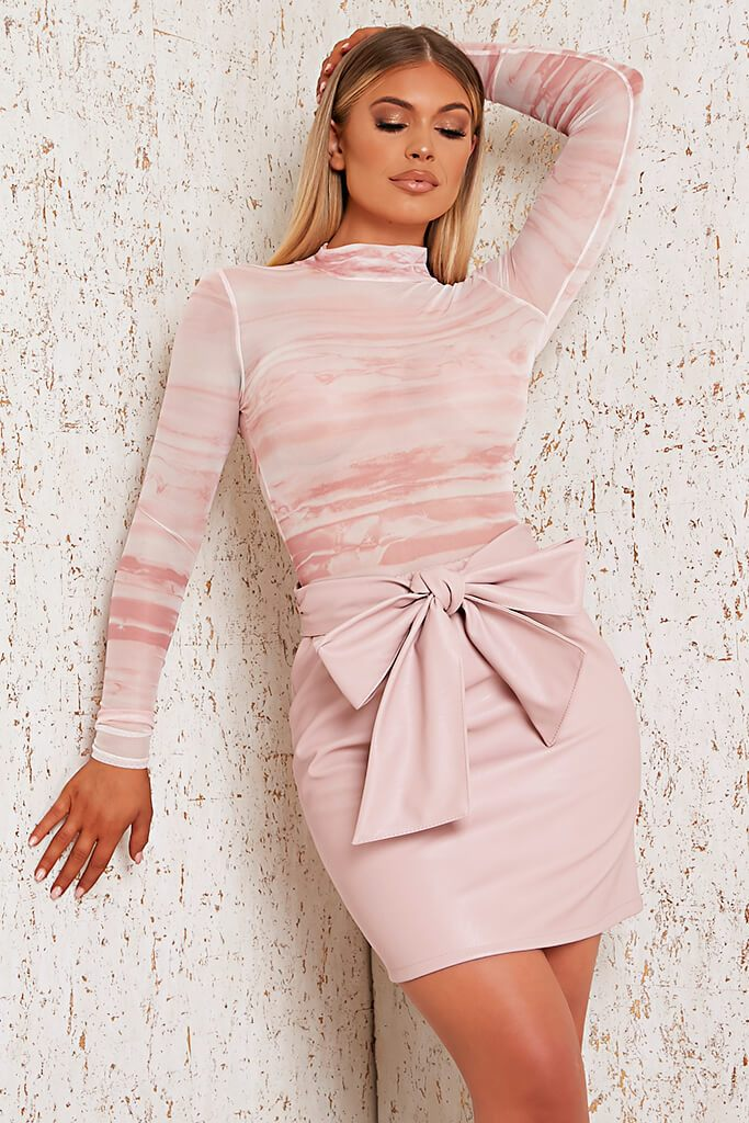 Pink Faux Leather Bow Detail Mini Skirt