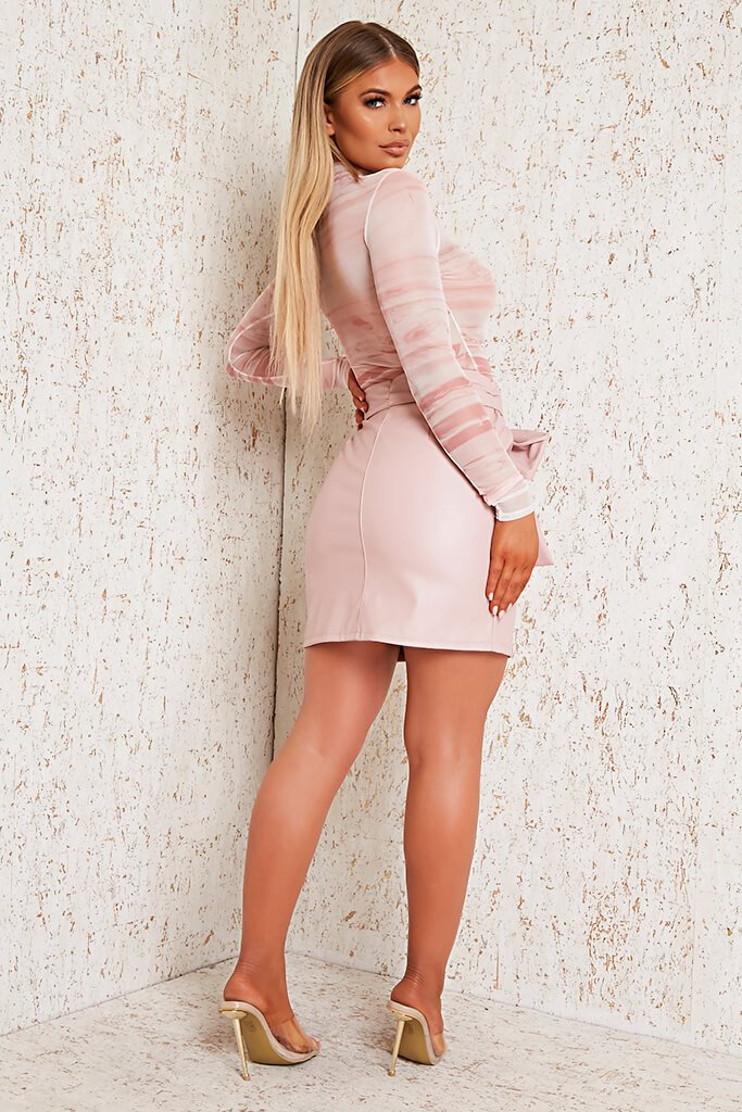 Pink Faux Leather Bow Detail Mini Skirt view 3