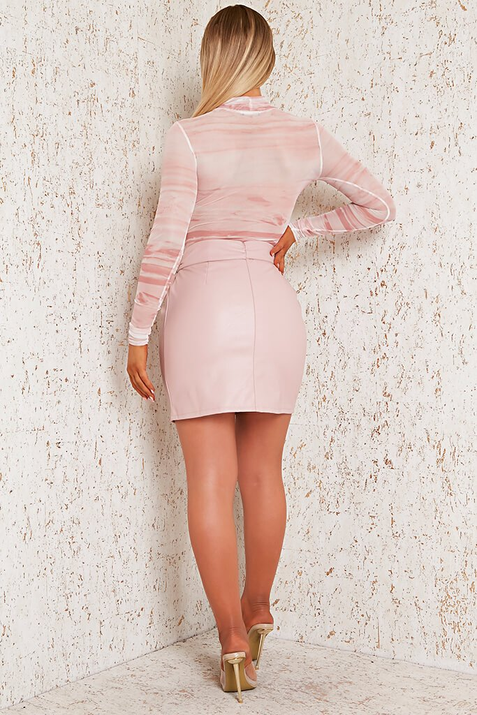 Pink Faux Leather Bow Detail Mini Skirt view 5