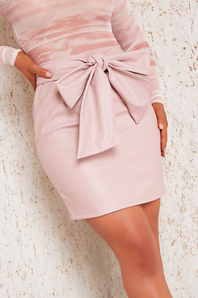Pink Faux Leather Bow Detail Mini Skirt view 4