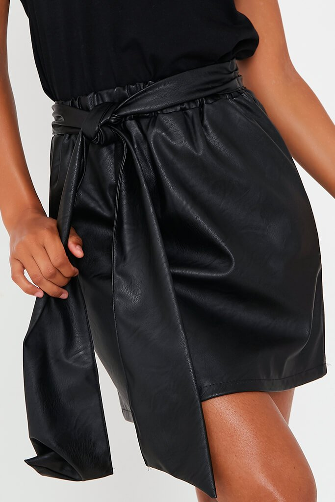 Black Faux Leather Bow Detail Mini Skirt view 4