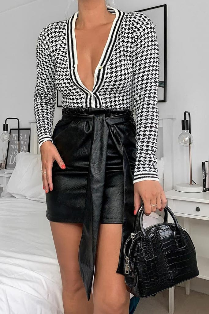 Black Faux Leather Bow Detail Mini Skirt