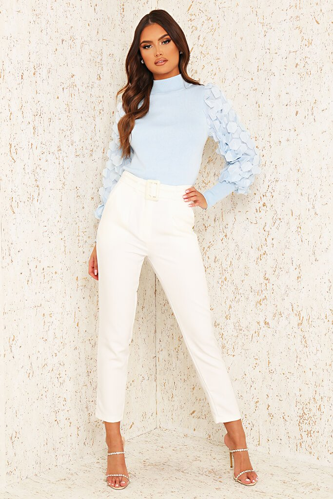 Cream Woven Belted Cigarette Trousers