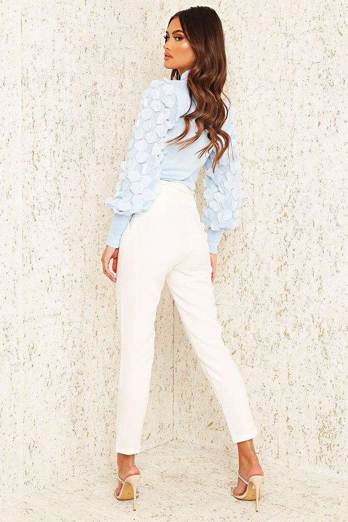 Cream Woven Belted Cigarette Trousers view 5
