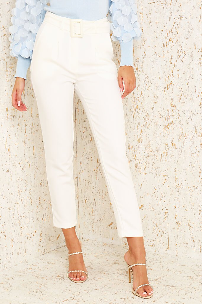 Cream Woven Belted Cigarette Trousers view 2