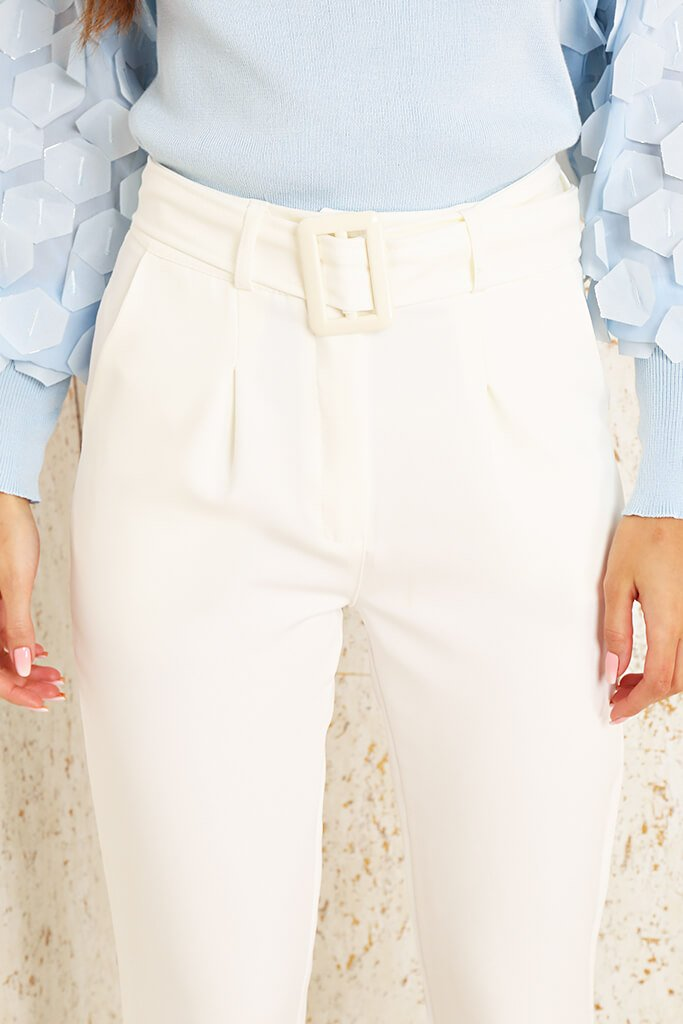 Cream Woven Belted Cigarette Trousers view 4
