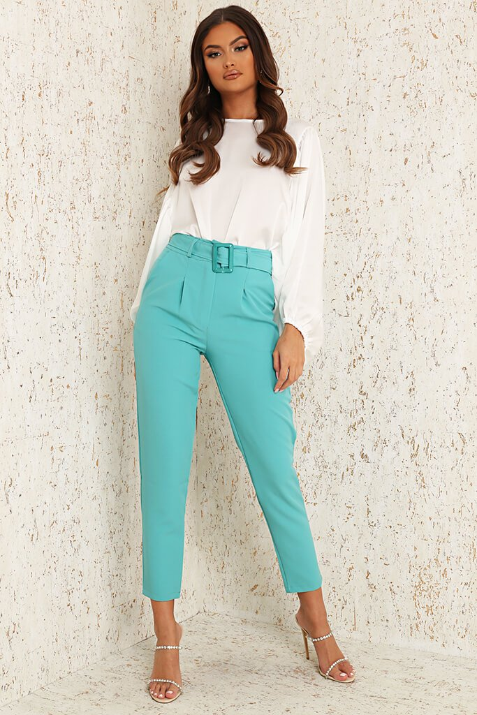 Mint Green Woven Belted Cigarette Trousers
