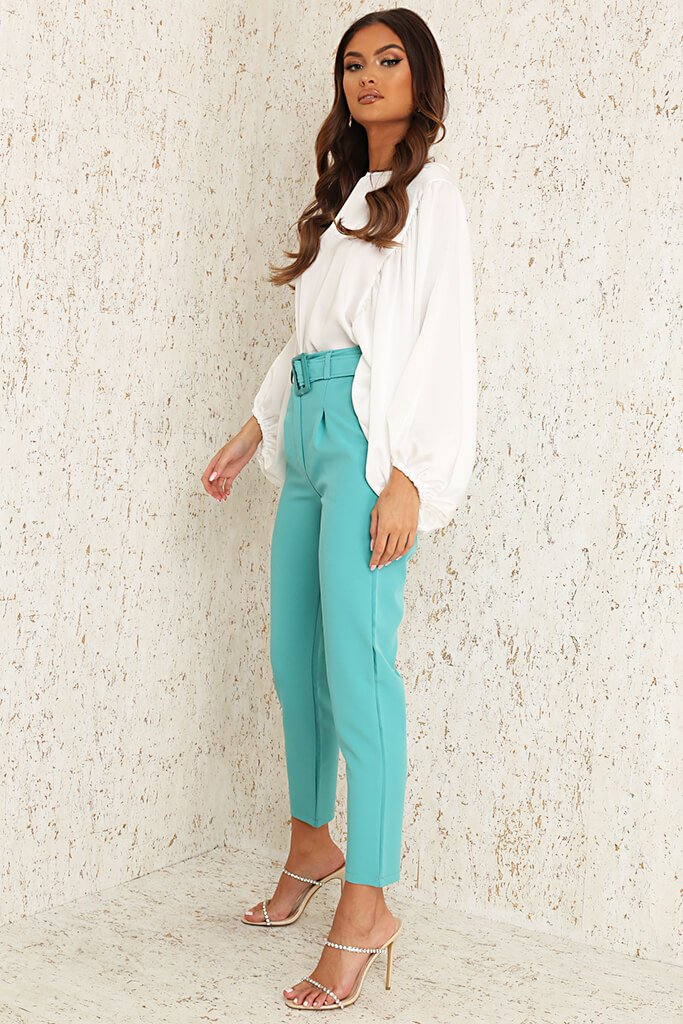Mint Green Woven Belted Cigarette Trousers view 3